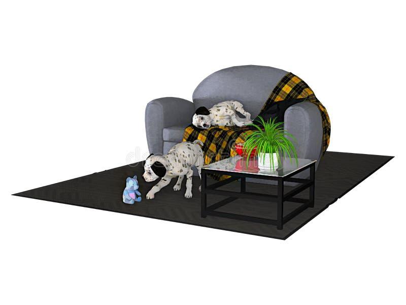 Due cuccioli dalmata e Sofa Isolated illustrazione vettoriale