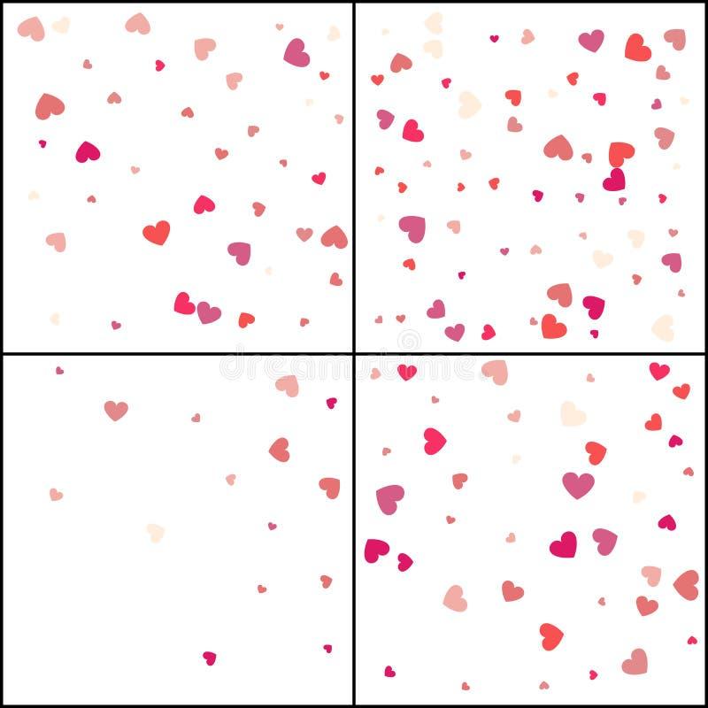 Due cuori Celebrazione dei coriandoli La decorazione astratta rosa di caduta per il partito, compleanno celebra, anniversario o e illustrazione vettoriale
