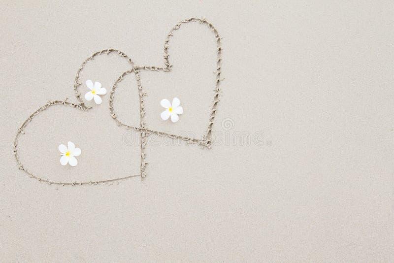 Due cuori con i fiori bianchi sulla spiaggia sorgono il fondo fotografia stock