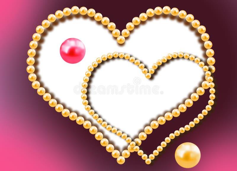 Due cuori dalle perle illustrazione vettoriale