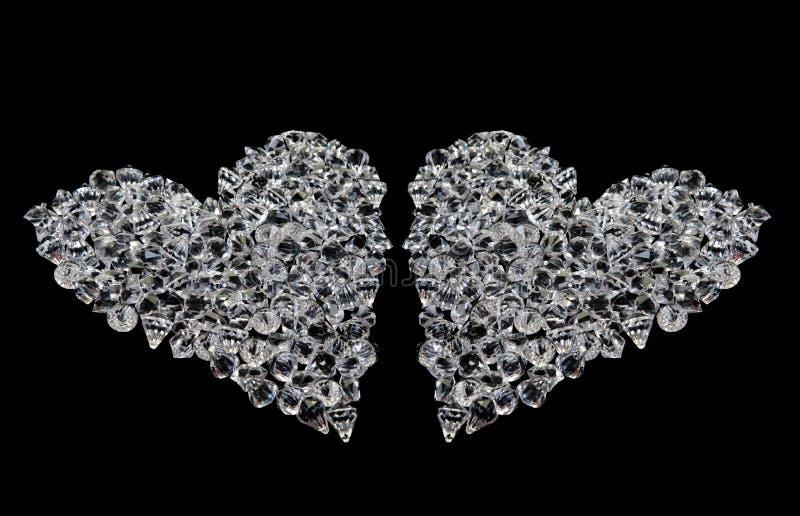 Due cuori dei diamanti sul nero immagini stock libere da diritti