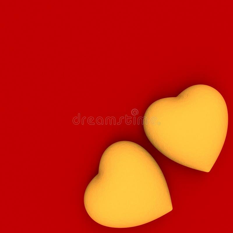 Due cuori dorati su colore rosso immagine stock libera da diritti