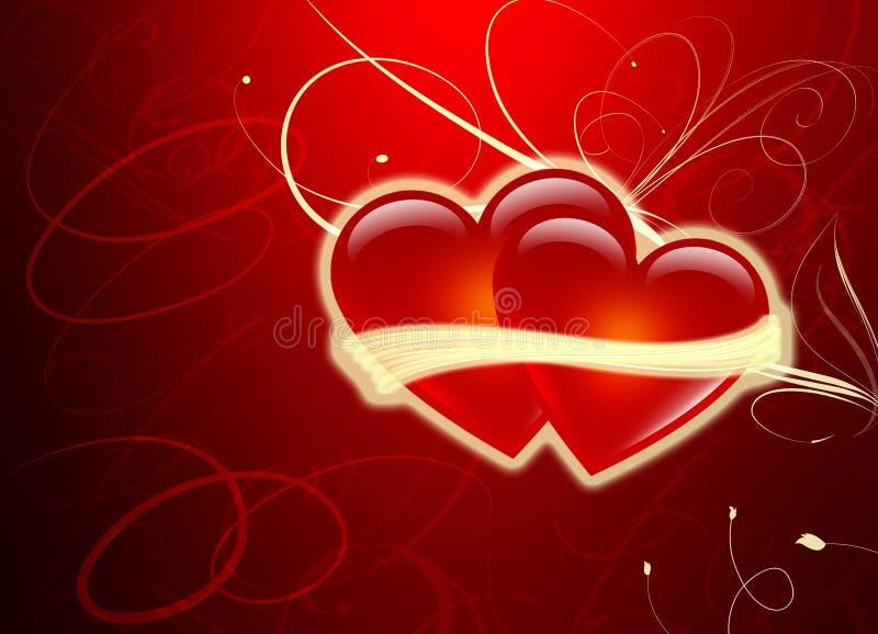 Due cuori - giorno dei biglietti di S. Valentino - amore immagine stock
