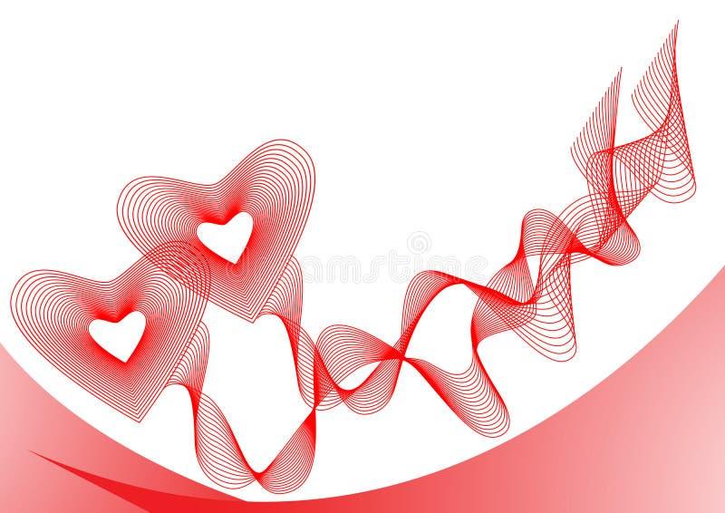 Due cuori rossi, connessi dai nastri illustrazione di stock