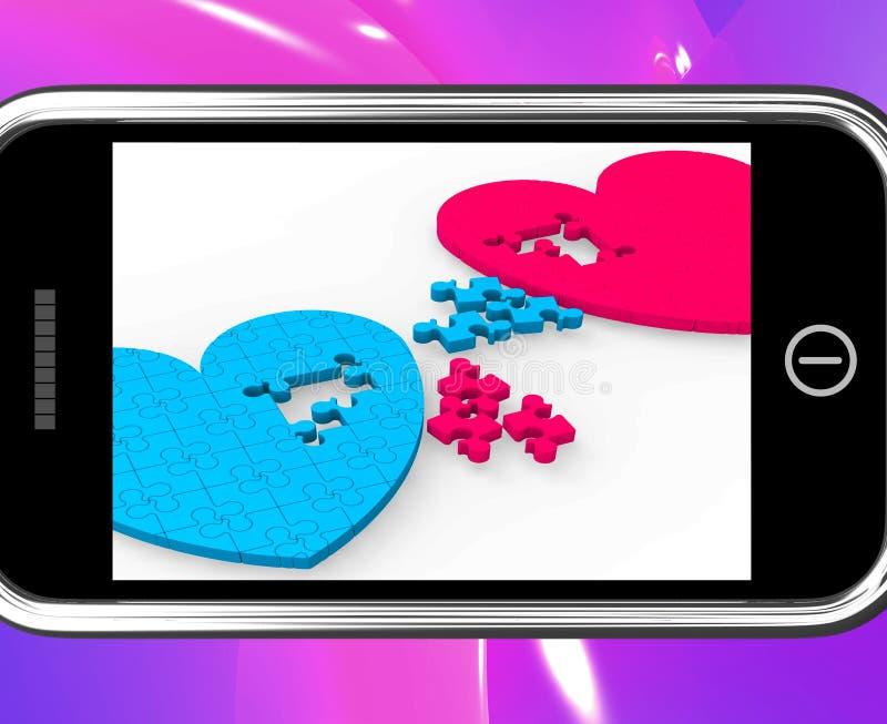 Due cuori su Smartphone che mostra impegno illustrazione vettoriale