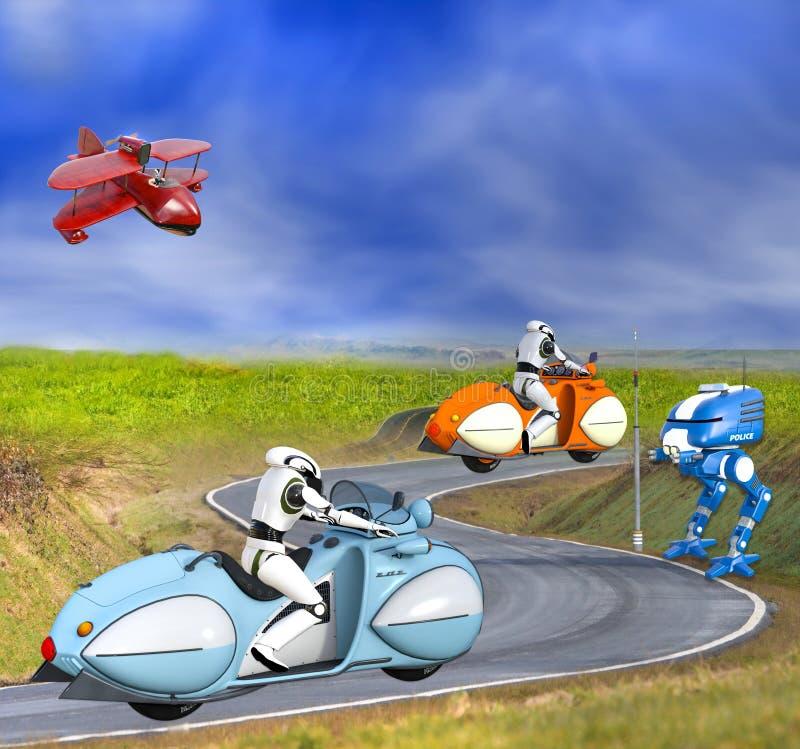 Due cyborg futuristici sui motocicli illustrazione di stock