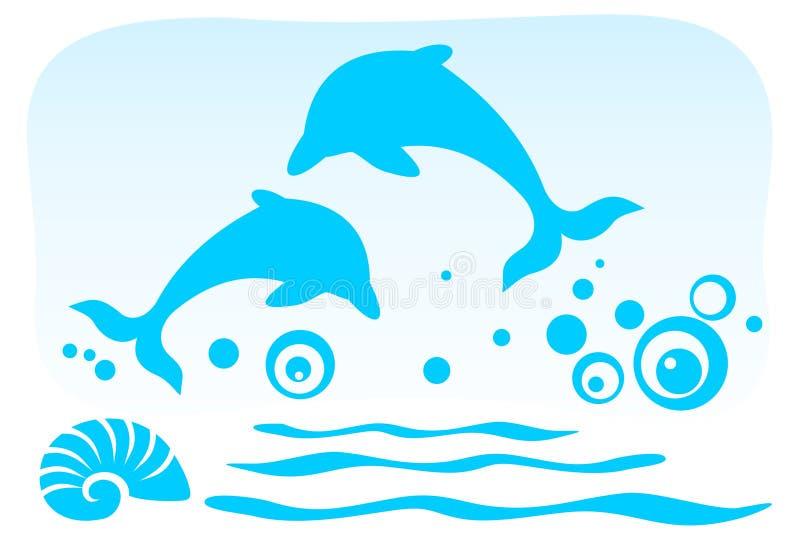 Due delfini illustrazione di stock