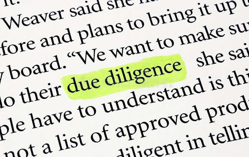 Due Diligence. The words due diligence highlighted with a yellow marker stock images