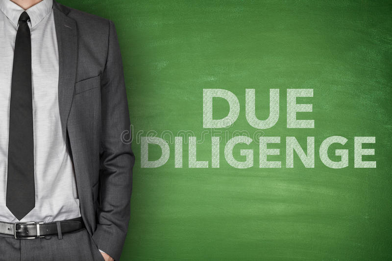 Due diligence on blackboard stock photography
