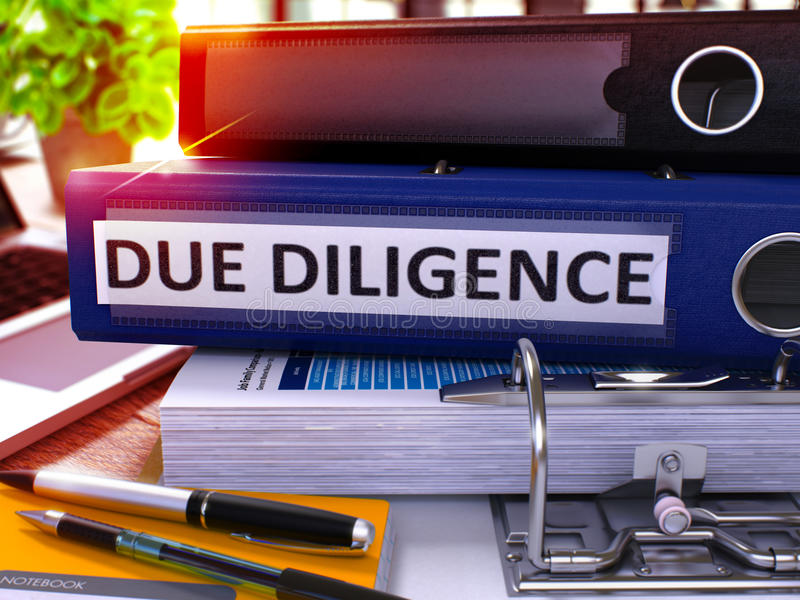 Due Diligence on Blue Office Folder. Toned Image. 3D. Due Diligence - Blue Office Folder on Background of Working Table with Stationery and Laptop. Due royalty free stock images