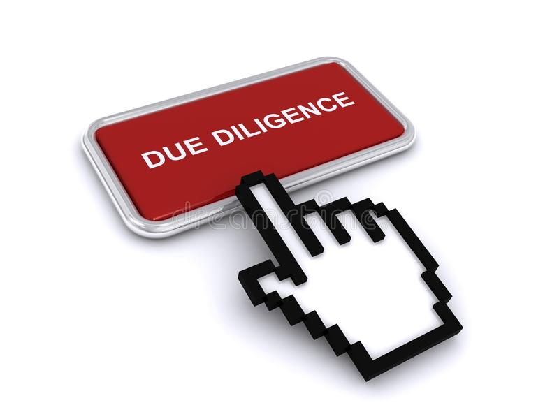 Due Diligence Button. With an electronic hand hovering over it, isolated on white stock illustration