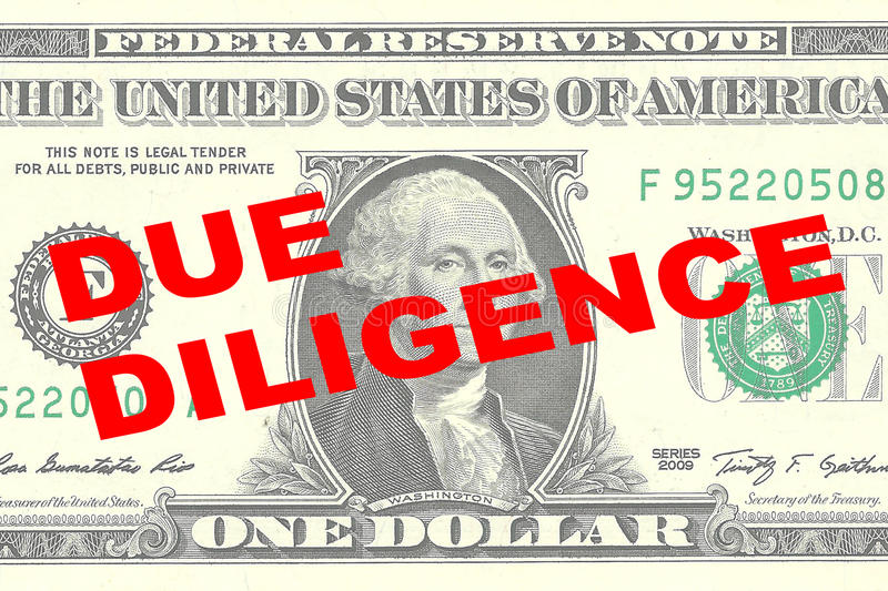 Due Diligence concept. Render illustration of DUE DILIGENCE title on One Dollar bill as a background stock illustration