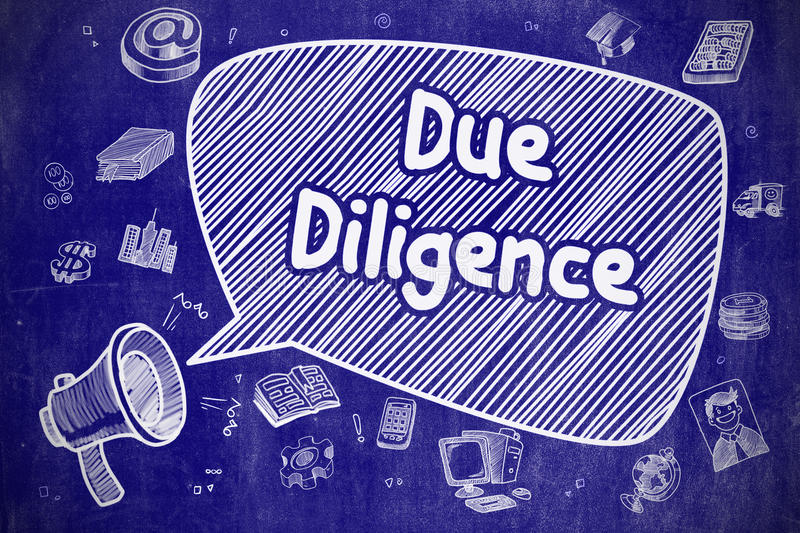 Due Diligence - Hand Drawn Illustration on Blue Chalkboard. Business Concept. Bullhorn with Text Due Diligence. Cartoon Illustration on Blue Chalkboard. Due vector illustration