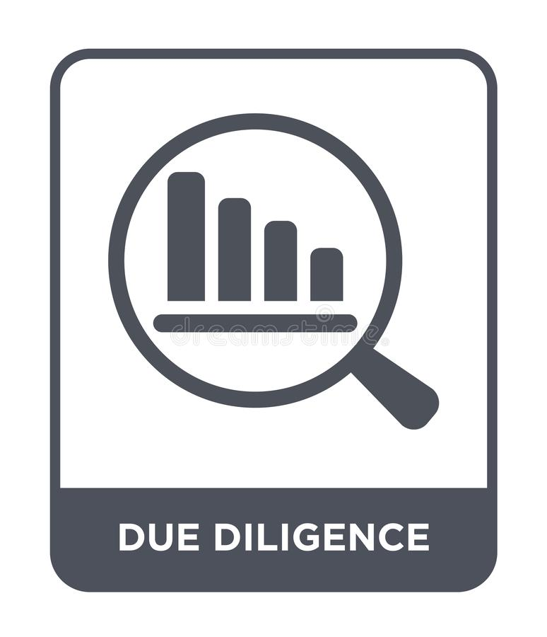 Due diligence icon in trendy design style. due diligence icon isolated on white background. due diligence vector icon simple and. Modern flat symbol for web royalty free illustration