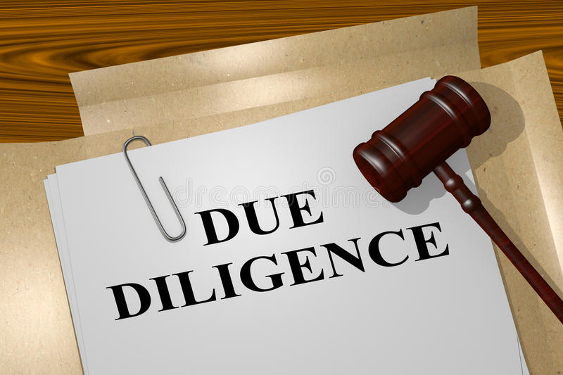Due Diligence - legal concept. 3D illustration of DUE DILIGENCE title on legal document stock illustration