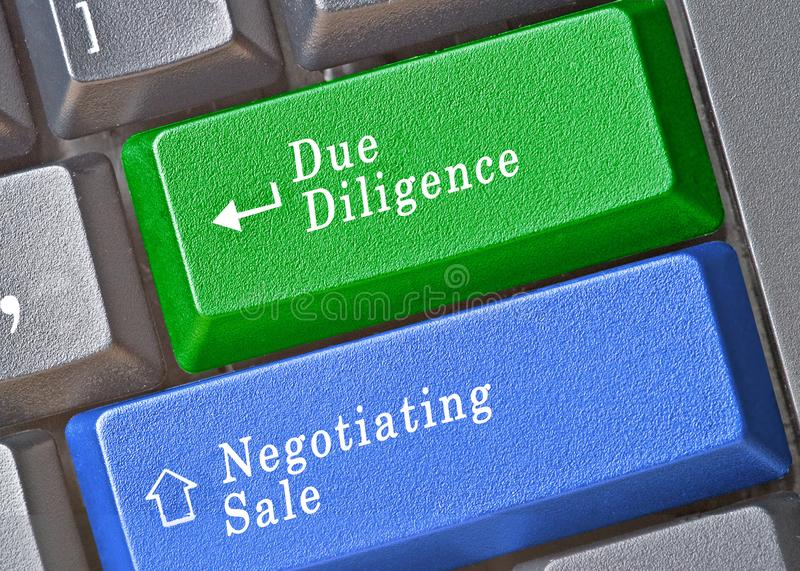 Due diligence and negotiating sale. Keys for due diligence and negotiating sale stock image