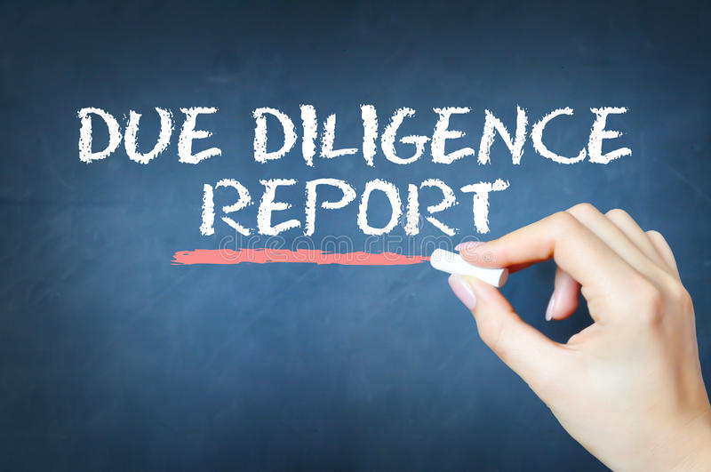 Due diligence report text written with chalk on blackboard. Due diligence report text written with chalk on chalkboard stock images