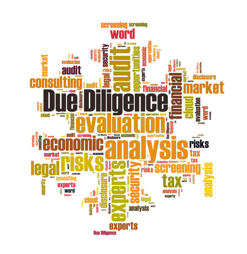 Due Diligence. Word cloud isolated royalty free illustration