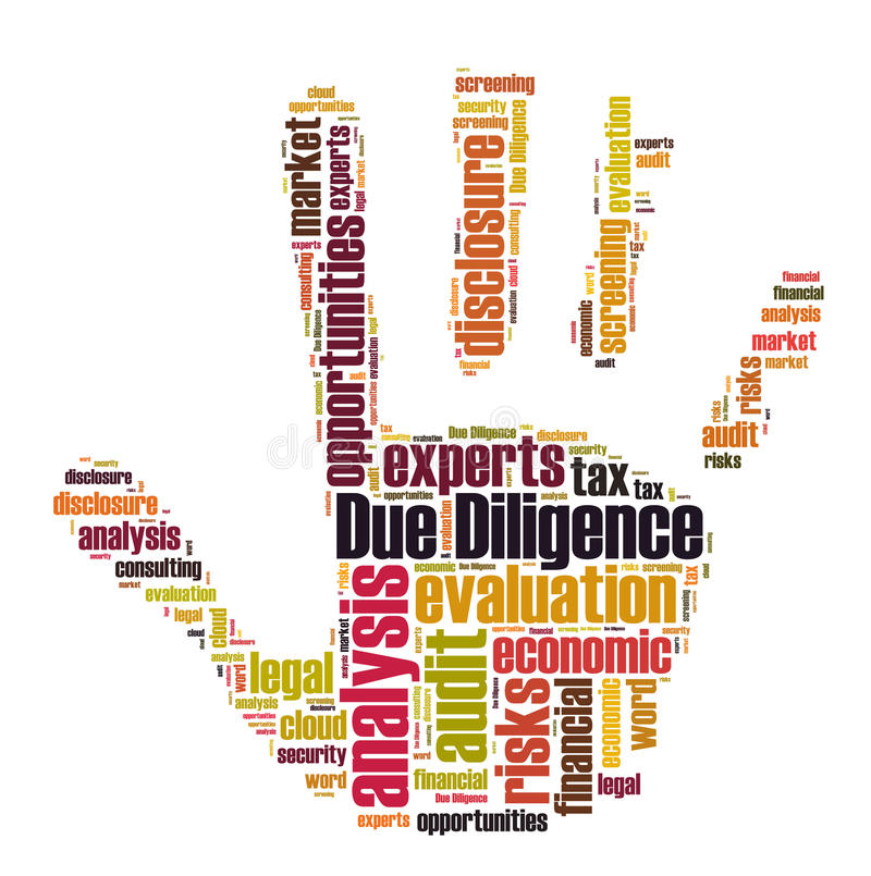 Due Diligence. Word cloud shaped as a hand royalty free illustration