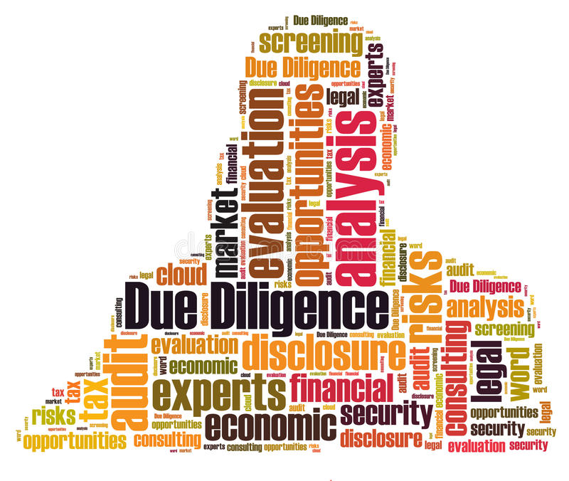 Due Diligence. Word cloud shaped as a human body stock illustration