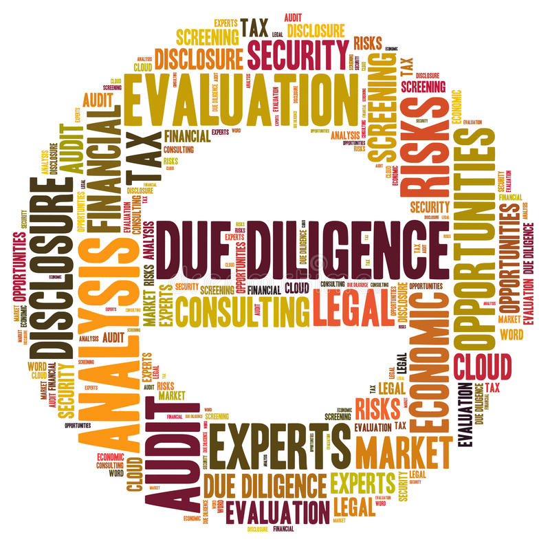 Due Diligence. Word cloud shaped as a sign stock illustration