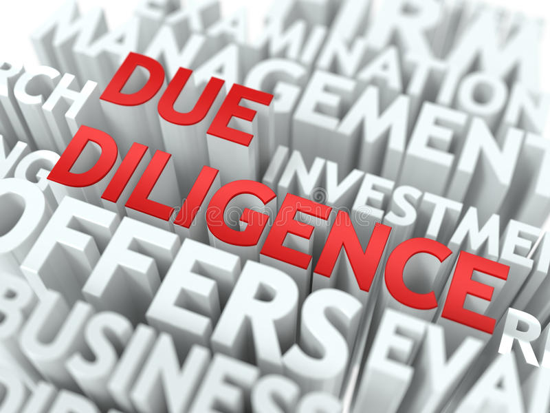 Due Diligence - Wordcloud Concept. Due Diligence - Red Word on White Wordcloud Concept royalty free stock photos