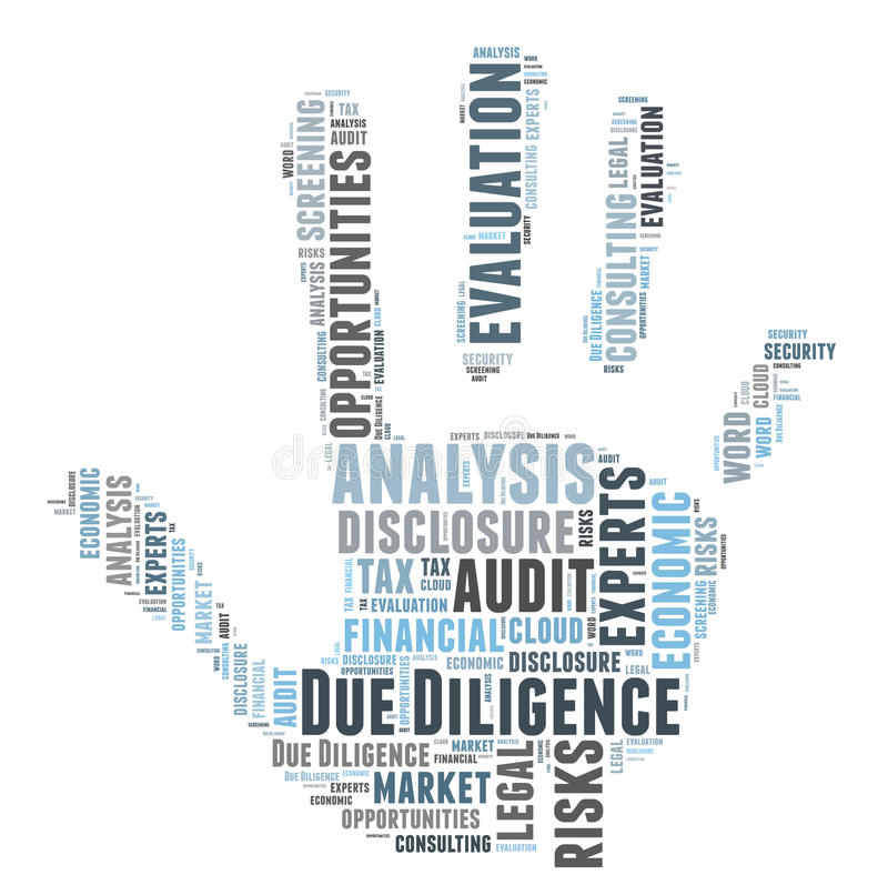 Due Diligense. Due Diligence word cloud shaped as a hand stock illustration