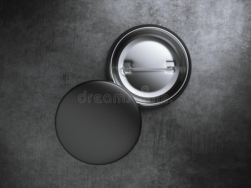 Due distintivi in bianco neri sul pavimento di calcestruzzo rappresentazione 3d illustrazione di stock