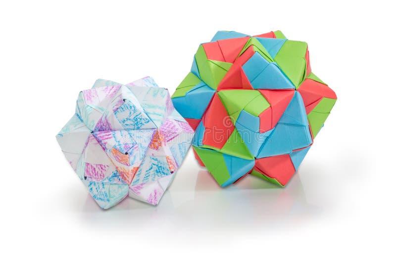 Due dodecahedrons differenti - tre figure geometriche di dimensioni immagine stock