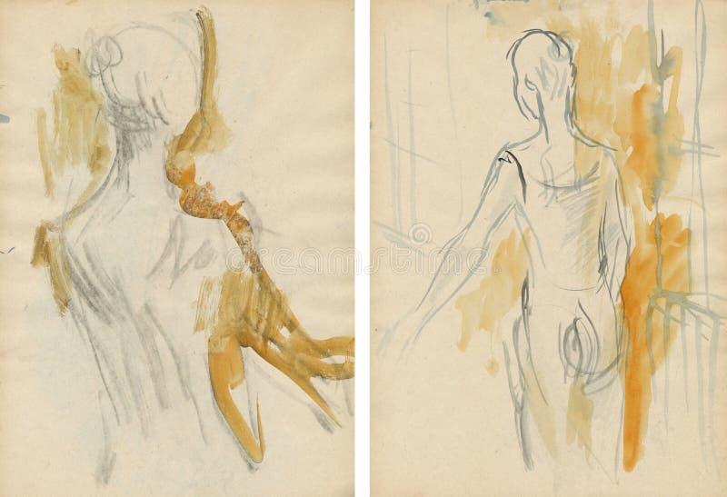Due donna-danzatori, dissipanti illustrazione vettoriale