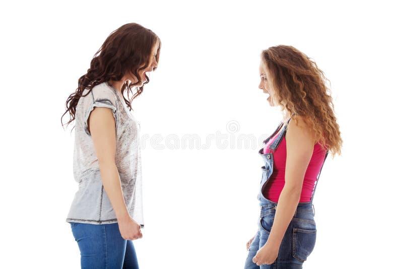 Due donne aggressive che gridano ad ogni otcher immagine stock libera da diritti
