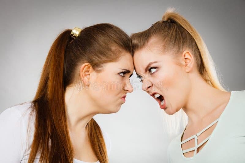 Due donne aggressive che hanno discutono la lotta immagine stock