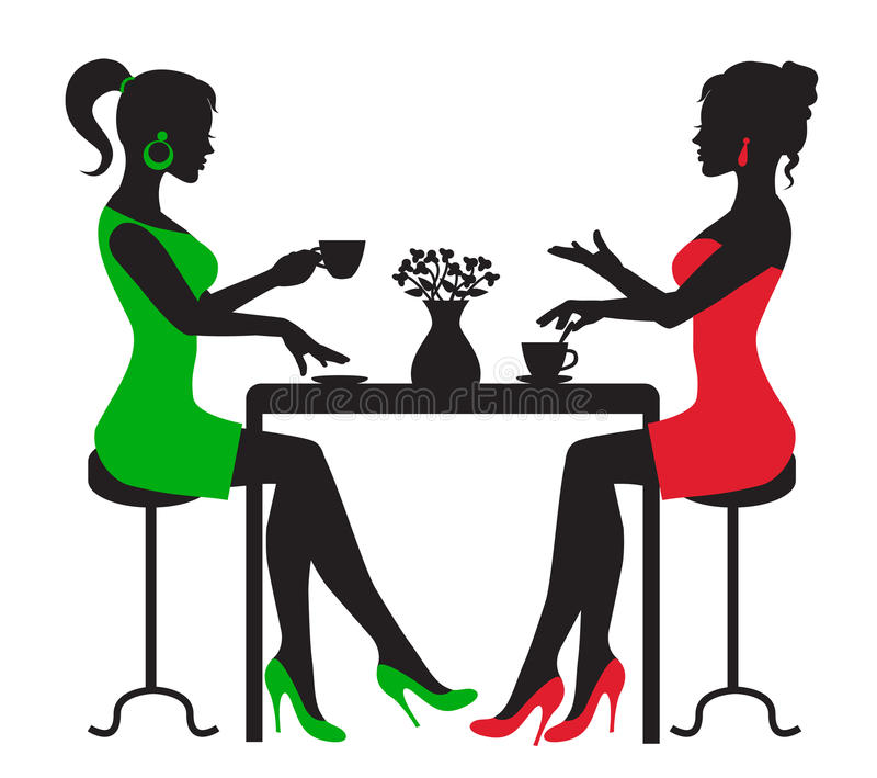 Due donne che bevono caffè ad una tavola illustrazione vettoriale