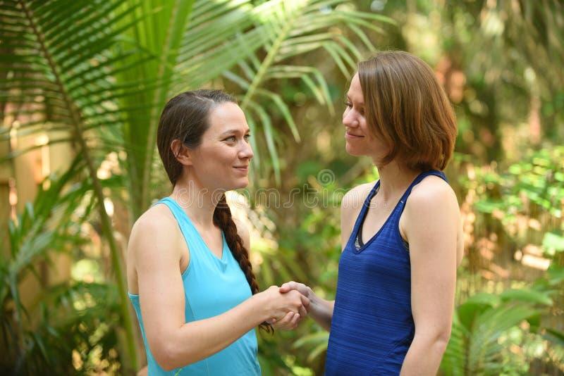 Due donne che esprimono una tregua o che accolgono stringendo le mani fotografia stock libera da diritti