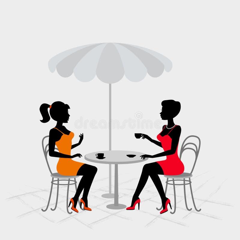 Due donne che si siedono in caffè della via royalty illustrazione gratis