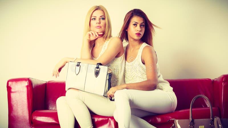 Due donne che si siedono sul sof? che presenta borsa immagine stock