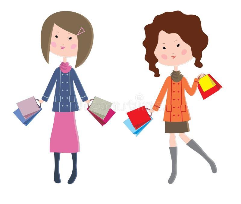 Due donne del fumetto con i pacchetti illustrazione vettoriale