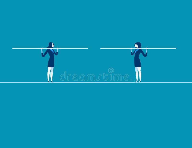 Due donne di affari convergono sulla corda per funamboli Vettore di affari di concetto illustrazione di stock