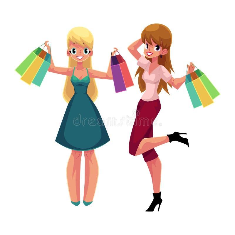 Due donne felici, ragazze, amici con i sacchetti della spesa, vendita di festa illustrazione di stock