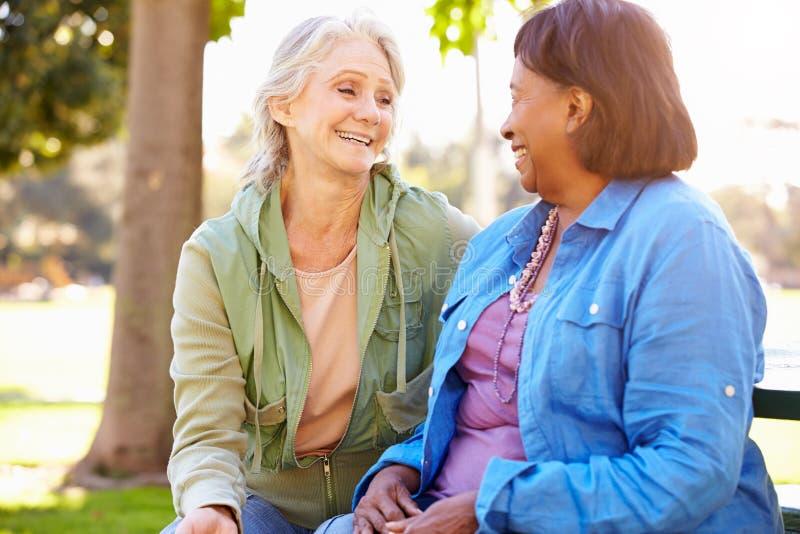 Due donne senior che parlano insieme all'aperto fotografia stock