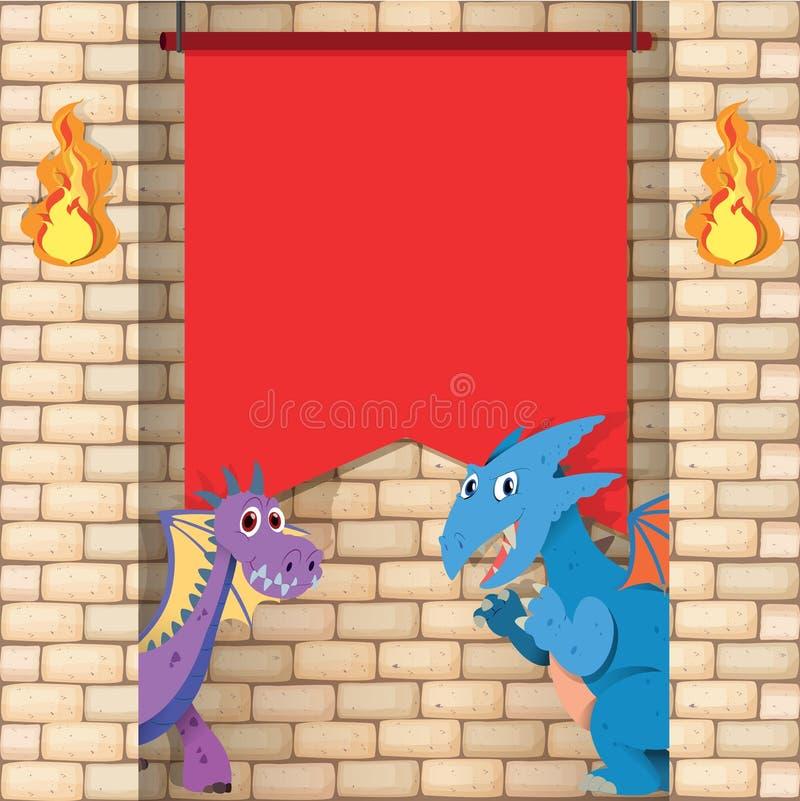 Due draghi dietro il muro di mattoni illustrazione di stock