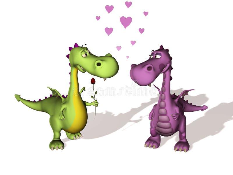 Due draghi nell'amore illustrazione di stock