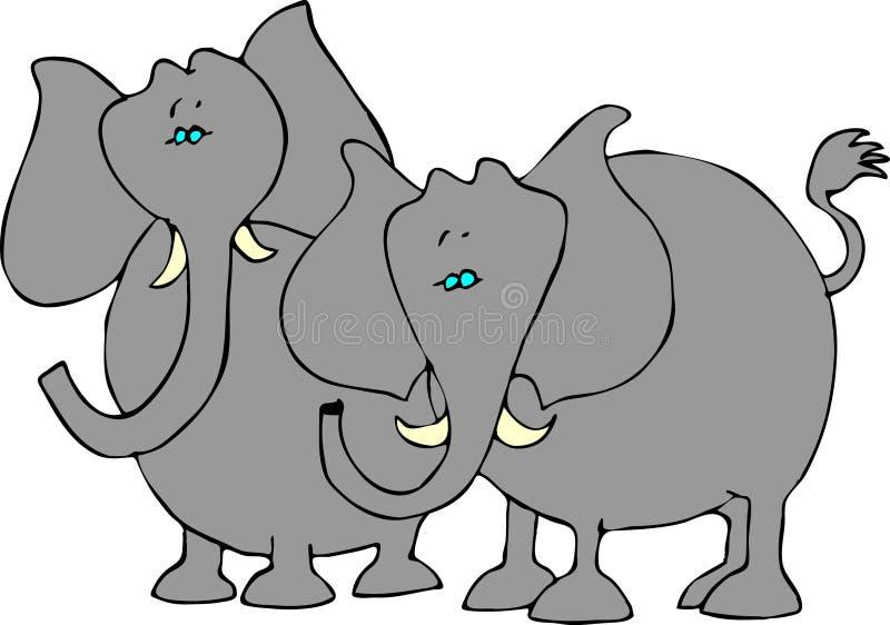 Due elefanti illustrazione vettoriale