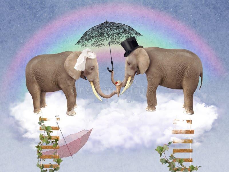 Due elefanti nell'amore con gli ombrelli royalty illustrazione gratis