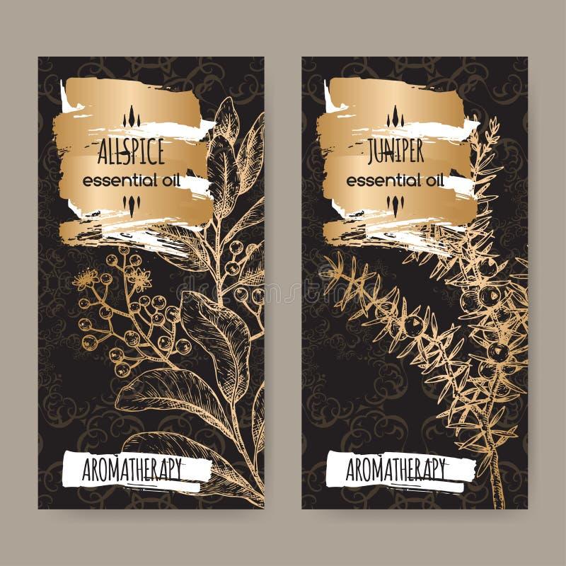 Due etichette con lo schizzo communis aka del ginepro del juniperus e delle quattro spezie di pimenta dioica aka sul fondo nero d illustrazione vettoriale