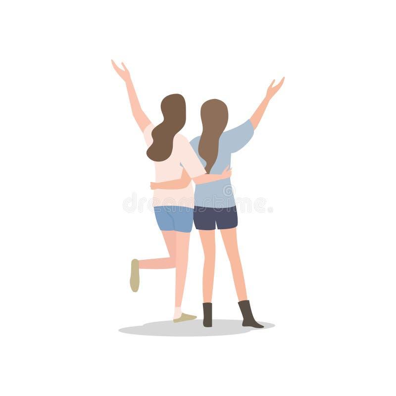 Due felici, giovani abbraccio dell'amica e mani di movimento illustrazione vettoriale