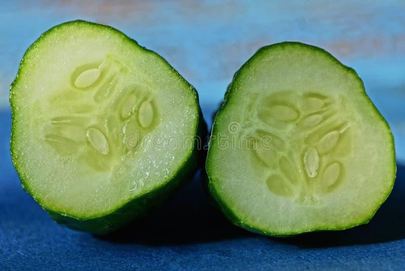 Due fette di cetrioli verdi freschi fotografia stock