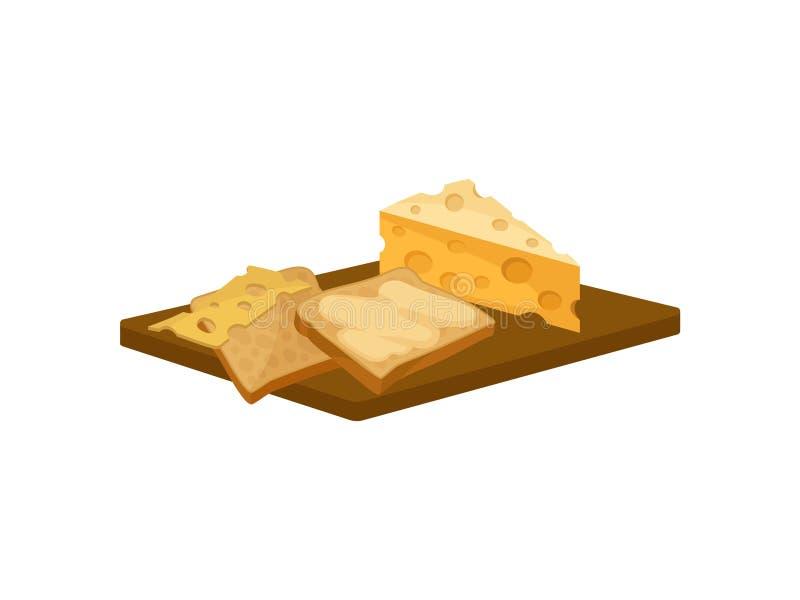 Due fette di pane del pane tostato con burro e formaggio sul tagliere di legno Alimento per progettazione piana di vettore della  illustrazione di stock