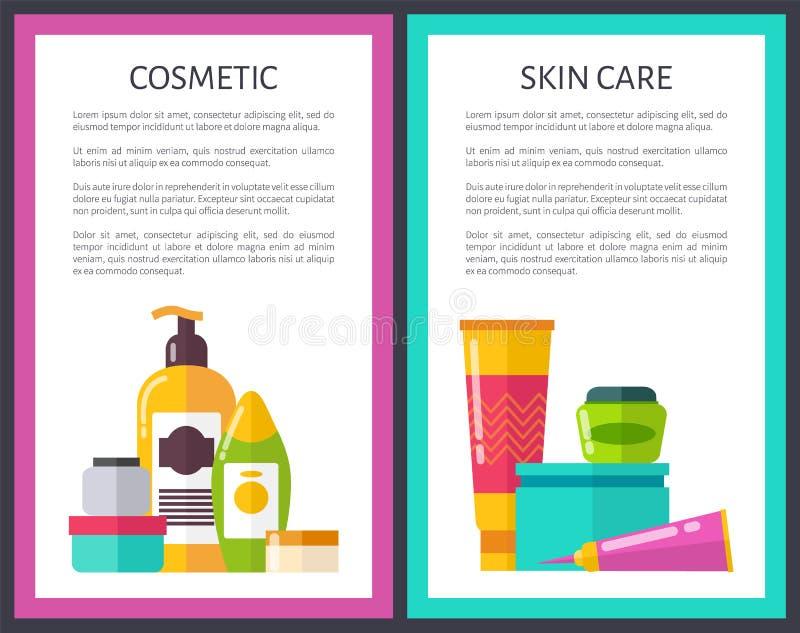 Due fiale sveglie di scintillio di pelle dei manifesti cosmetici di cura royalty illustrazione gratis