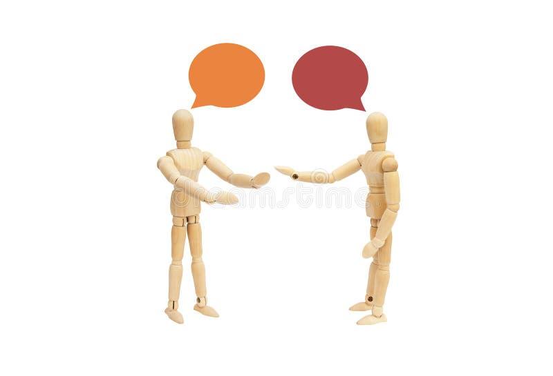 Due figura di legno discorso del manichino e parlare isolato insieme su fondo bianco illustrazione vettoriale